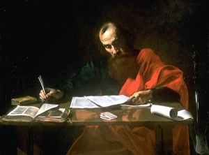 Paul writing his epistles. Source: wikipedia